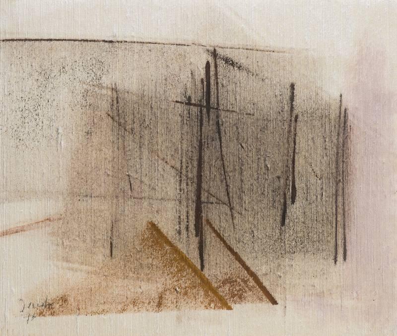 002 sítotisk na plátně 1976 447x38 v rámu 800 €