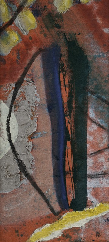 106 k.t. akryl na moketě 2002 96x43 v rámu 2500 €